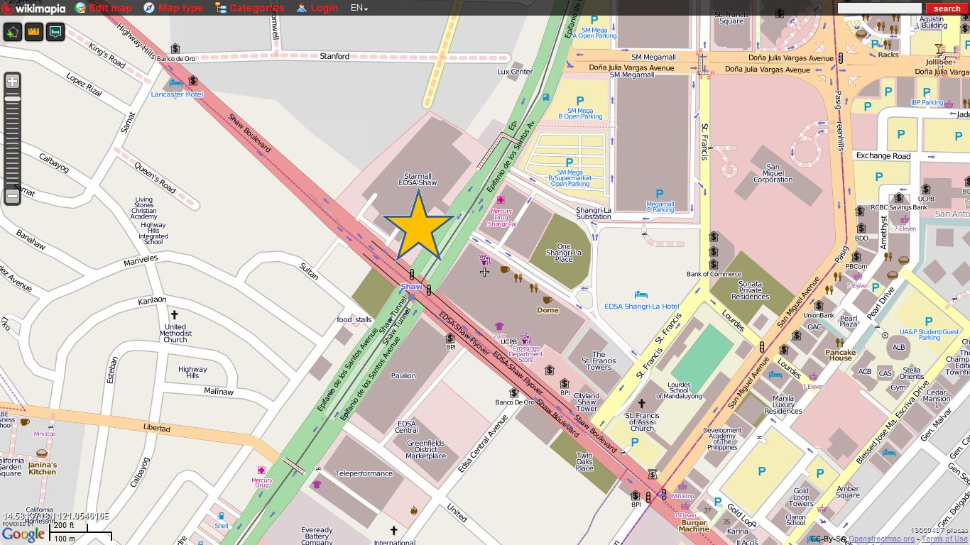 Starmall EDSA Map, close up