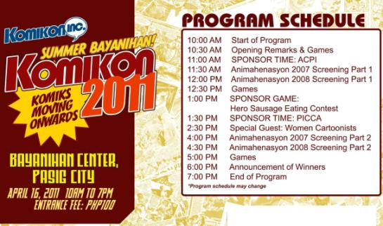 Summer Komikon 2011 Program Schedule