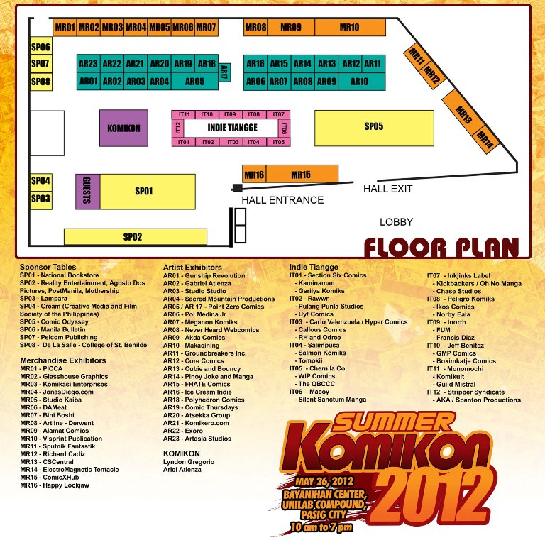 Summer Komikon 2012 List of Exhibitors and Sponsors