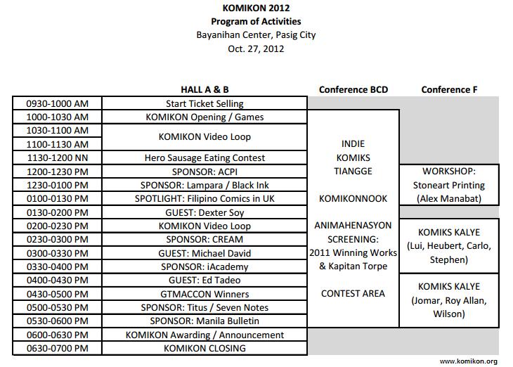 Komikon 2012 Program Schedule