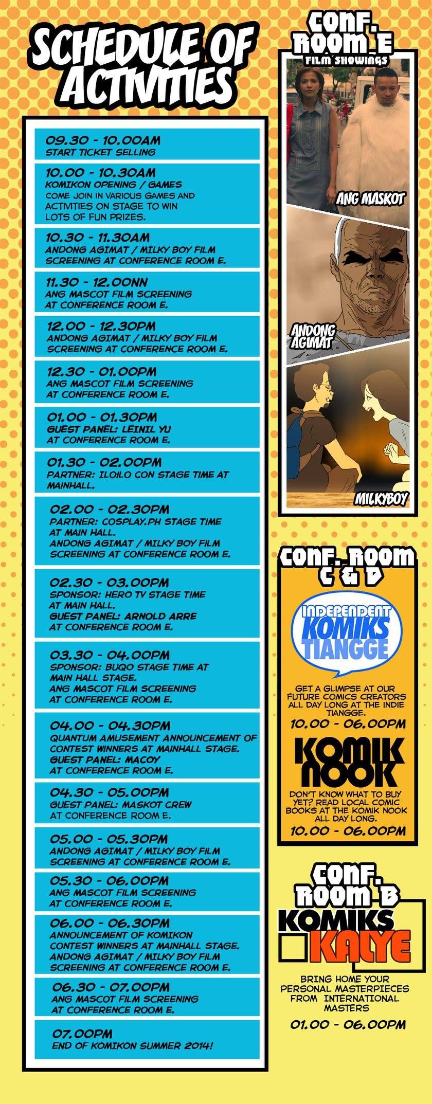 Summer Komikon 2014 Program Schedule